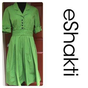 Eshakti Green Shirt Dress Blue Buttons